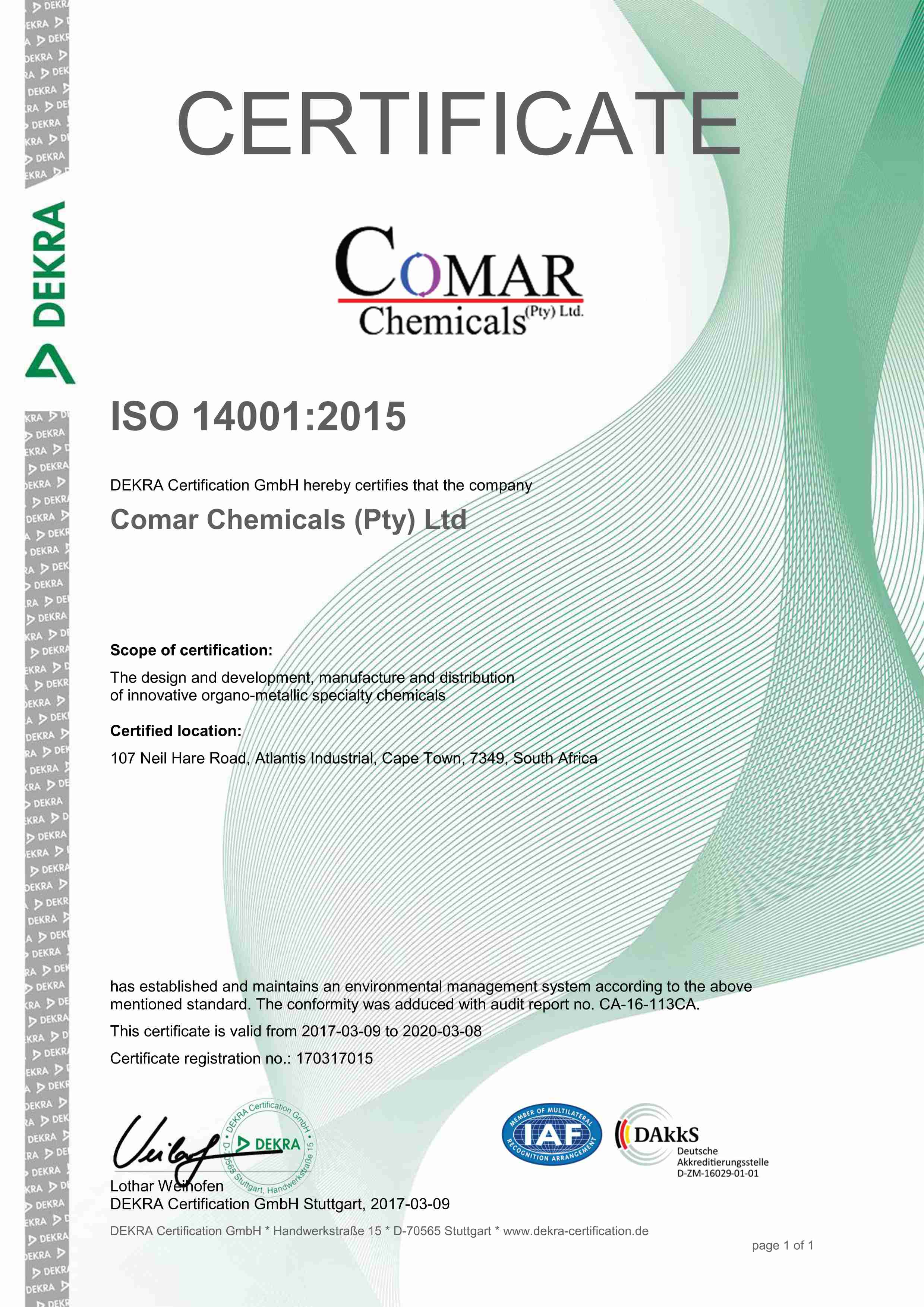 Comar chemicals iso 90012008 certification iso certification of comar chemicals pty ltd 1betcityfo Gallery